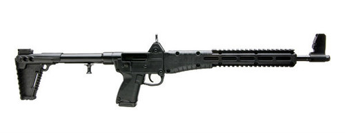 Kel-Tec Sub-2000 chambered in 9mm, This firearm takes Glock 17 magazines and comes with one magazine manufactured by Magpul. This firearm has a black furniture set.
