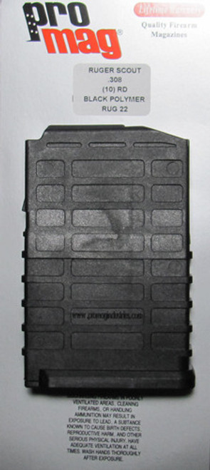 ProMag RUG22 Ruger 22 Scout 308 Winchester/7.62 NATO 10 rd Black Finish This magazine will fit a Ruger 22 Scout firearm and can hold up to 10rds. Caliber: 308 Winchester/7.62 NATO Capacity: 10 rd Finish: Black Model: Ruger 22 Scout Type: Detachable Model Fit: 22 Scout Brand Fit: Ruger Max Capacity: 10 Manufacturer: ProMag Mfg Number: RUG22 Model: Ruger Scout Purpose; Detachable Series: Replacement Magazine