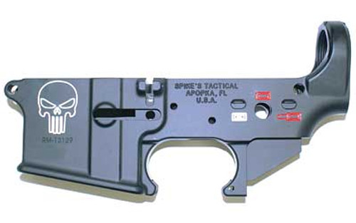 "Spike's Tactical AR-15 lower receiver. Called the ""Punisher"" this lower has a unique theme, that features a Color filled Punisher skull."