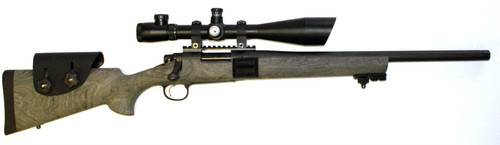 Used Remington 700 AAC-SD chambered in .308. This rifle comes with a scope 6-24 power with angled sun shade, 30mm tube and illuminated reticle. Hogue stock. Threaded barrel
