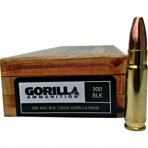 20 round box of 300 AAC Blackout is a 120 grain bullet manufactured by Gorilla Ammunition