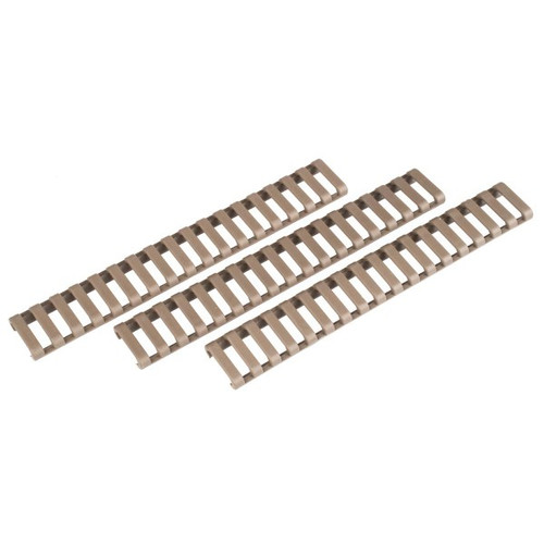 ErgoGrip Slim-Line Rail covers. They are flat dark earth (FDE) and have a ladder design. Comes with 3 in the package.