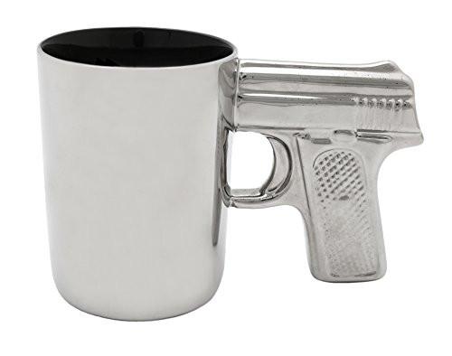 AGS Brands Ceramic Gun Mug Chrome 16.9-Ounce