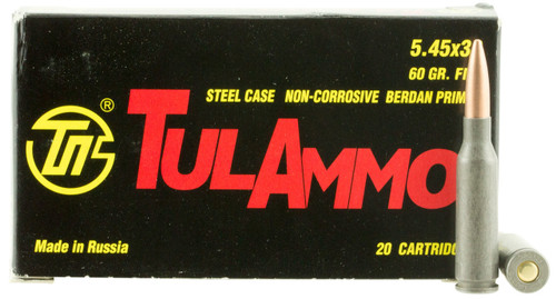 TulAmmo 5.45x39mm 60 Grain FMJ (Full Metal Jacket), has 20 rounds per box, manufactured by The Ulyanovsk Cartridge Works.