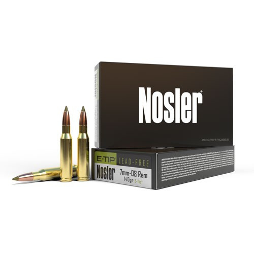 7mm-08 Remington Ammunition with a 140gr E-TIP projectiles, 20 Rounds/ Box, manufactured by Nosler.