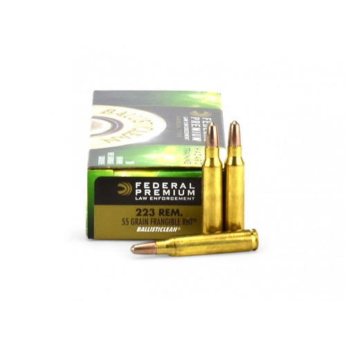 Federal Premium LE .223 55 Grain RHT, this pack has 20 rounds per box, manufactured by Federal.
