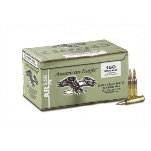 Federal American Eagle 5.56 NATO 62 Grain FMJ, the pack has 150 rounds per box, manufactured by Federal.