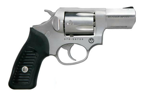 This is a Ruger SP101 chambered in .357 magnum. This model has a stainless steel body.