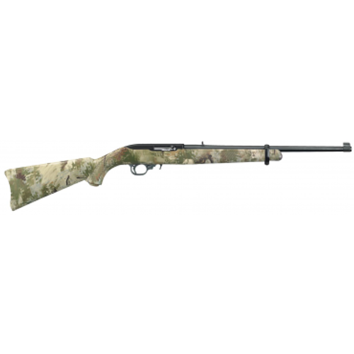 """Ruger 10/22 chambered in 22 long rifle. Synthetic stock with a """"Wolf Camo"""""""