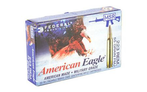 55 grain .223 Remington FMJ manufactured by Federal Cartridge Co. 20 Rounds per box