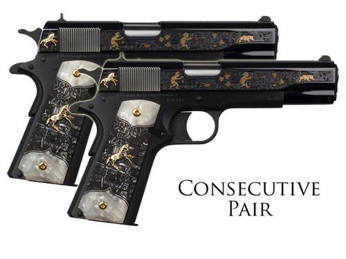 1911 Colt .38 Super - Talo - Aztec Jaguar Azul - Consecutive Pair