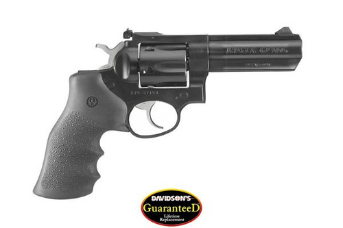 This is a Ruger GP100 chambered in .357 magnum. Custom Hogue Rubber Grips.