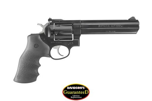 """This is a Ruger GP100 chambered in .357 magnum. Custom Hogue Rubber Grips, 6"""" Heavy Barrel."""