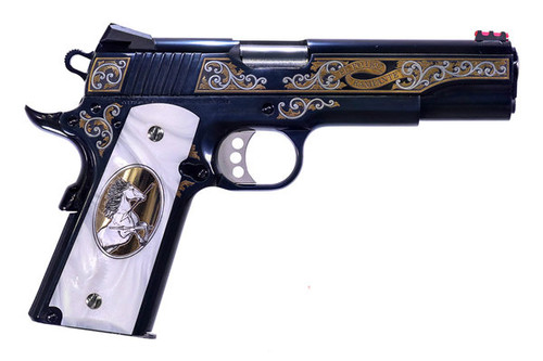 This is a Colt 1911 chambered in .38 super. special edition called the El Porto Rampante.