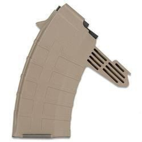 SKS magazine for any 7.62x39mm,  20 round capacity with a Dark Earth finish, made by Tapco.