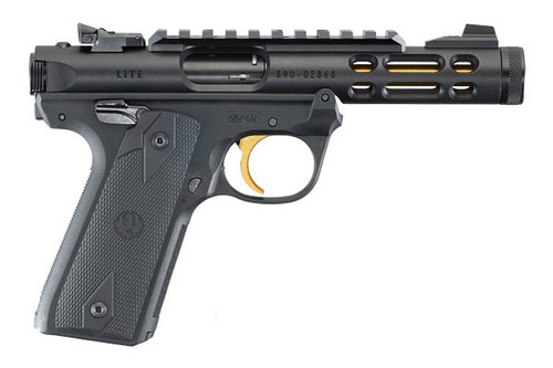 Ruger Mark IV that is part of the 22/45 series. This model comes with a Black Anodized finish on the slide and Gold Anodizing on the barrel and trigger