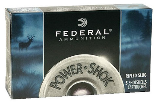 "Federal Power-Shok Rifled Slug 10 gauge, 3 1/2"" Magnum shell loaded with 1 3/4 oz. hollow point rifled slug, 5 rounds per box, manufactured by Federal Cartridge Company."