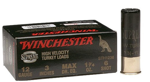 """Winchester Supreme High Velocity Turkey Loads 10 gauge, 3 1/2"""" shell loaded with #4 shot (2 oz.)"""
