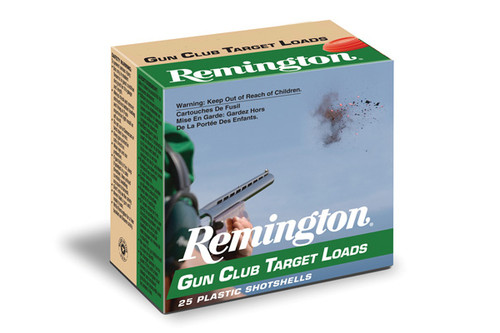 "Remington Gun Club Target Loads 12 gauge, 2 3/4"" shell loaded with #9 shot, 25 rounds per box, manufactured by Remington."