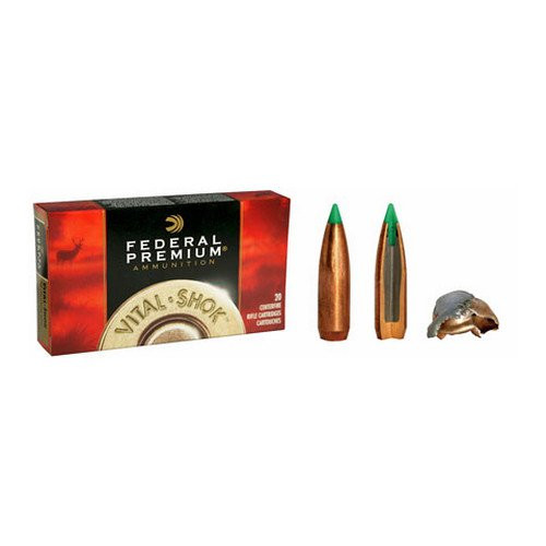 Federal Vital Shok ammunition in the .308 Winchester caliber, 150 grain Nosler Ballistic Tip