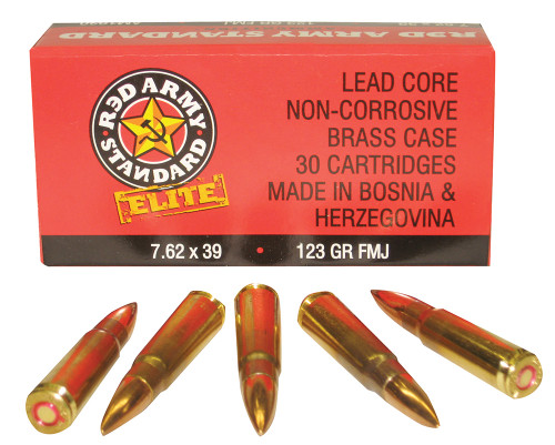 Red Army Standard Elite 7.62x39mm 123 Grain FMJ Brass cased, has 30 rounds per box, distributed by Century Arms.
