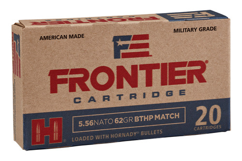 Hornady Frontier 5.56 nato (5.56x45mm), 62 Grain boat tail hollow point (BTHP), has 20 rounds per box, manufactured by Hornady.