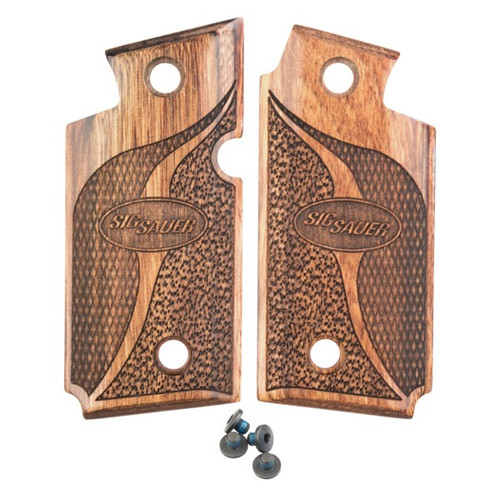 Sig Sauer grips for the P238. Made from Walnut these factory grips feature a checkered pattern.