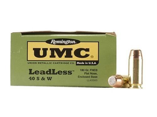 Remington UMC LeadLeass 40s&w 180 Grain Brass FLEB(Flat Nose Enclosed Base), has 50 rounds per box, manufactured by Remington.
