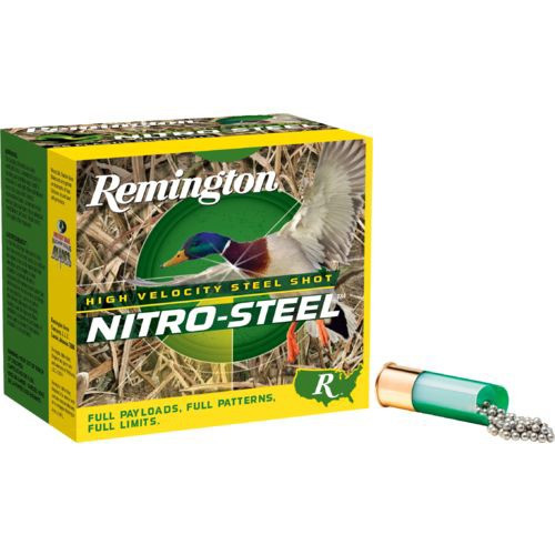 """Remington Nitro Steel 12 gauge, 3"""" shell loaded with a 1-1/4 oz.#4 steel shot, 25 rounds per box, manufactured by Remington. These are high-velocity rounds, 1450 fps!"""