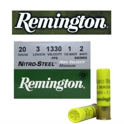 """Remington Nitro Steel 20 gauge, 3"""" shell loaded with a 1 oz.#2 steel shot, 25 rounds per box, manufactured by Remington. These are high-velocity rounds, 1330 fps!"""