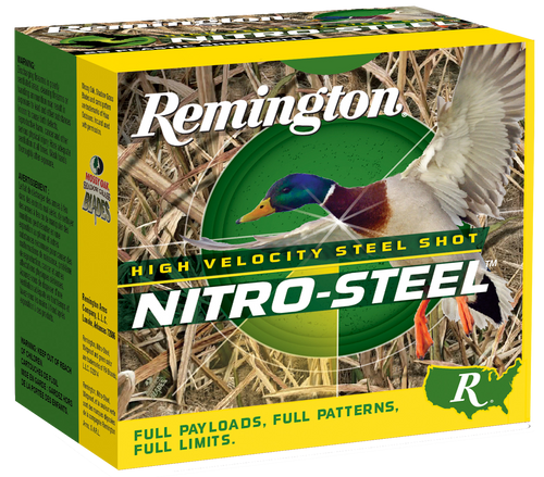 "Remington Nitro Steel 10 gauge, 3-1/2"" shell loaded with a 1-3/4 oz.#2 steel shot, 25 rounds per box, manufactured by Remington. These are high-velocity rounds, 1260 fps!"