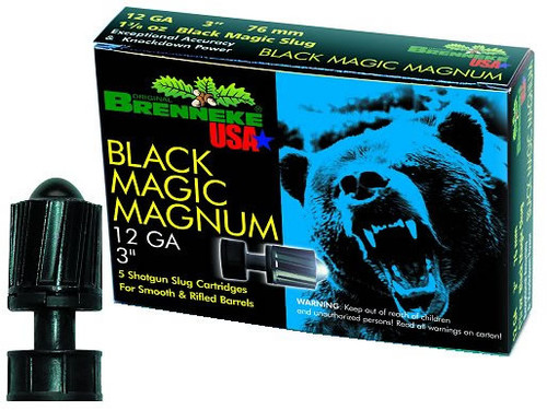 """Brenekke Black Magic Magnum 12 gauge, 3"""" shell loaded with a Brenneke's CleanSpeed��� coated lead slug (1-3/8 oz.), 5 rounds per box, manufactured by Brenneke.  A popular choice among guides when backing up their clients on big game hunts. Can be used in both rifles or smoothbore barrels."""