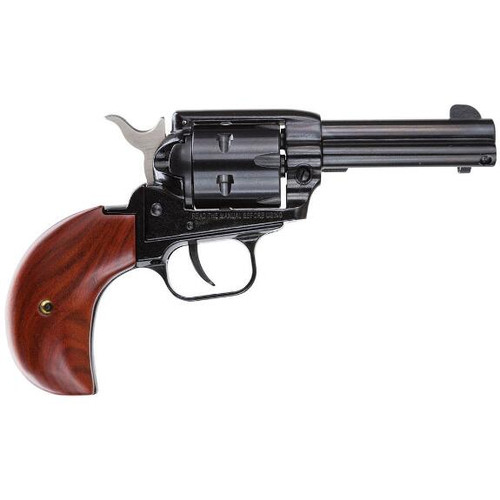 "Heritage Rough Rider Revolver with a birds head grip and a 3.5"" barrel chambered in .22 lr  and comes with a convertible cylinder in .22 Mag"