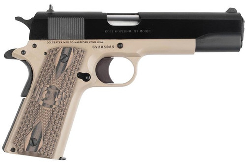 This is a Colt 1911 Governement Model chambered in .45 acp. special edition fro TALO with the McMillan Tan Frame, G10 Grips, Flat Mainspring Housing.