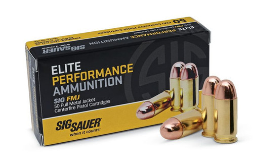 This is box of Sig Sauer  Elite Performance Ammunition 9mm 115 Grain Brass FMJ, has 50 rounds per box.