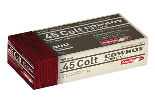 This is a box of Aguila .45 Long Colt. Comes in 50 round box filled with a 200 Grain Bullet lead round nose.