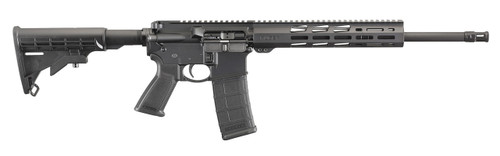 This is a Ruger AR-556 Rifle chambered in 5.56 NATO. This model features a free float handguard, heavy barrel, and an enlarged trigger guard.