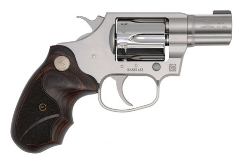 """This Colt Cobra is in 38 Special and can handle the +P loads. This TALO special edition of the Cobra is called """"the classic style""""  and features wooden grips, a polished cylinder and a gold bead front sight."""