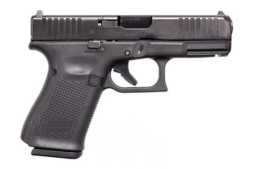 This is a Glock 19 9mm, Gen 5, with a black finish. This model is equipped with the Modular Optic System (MOS) and comes with (3) - 15 round magazines and the Glock marksmen barrel and with a flared magwell.