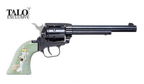 This is a Heratige Rough Rider Revolver chambered in .22 lr, with Liberty Bell Pin-Up Green Grips.