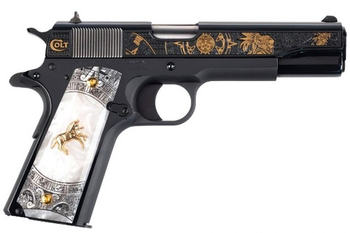 This is a Colt 1911 chambered in .38 super. exclusive Talo edition called the Aztec Jaguar Knight.