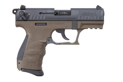 This is a Walther P22Q .22lr military pistol, with a OD Green finish.