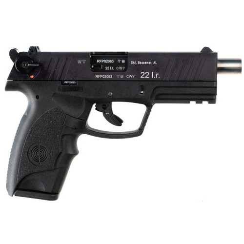 This is a Steyr RFP pistol chambered in .22 long rifle, with an extended barrel.