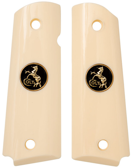 This is a pair of Ajax 1911 Grips for the Government (Full-Size) 1911 frame (Combat Commanders, Government Models, Colt, Kimber, Springfield Armory, .38 Super, 9mm, 10mm,.22LR). Made in an ivory polymer laminate and has a beautiful black and goldl Colt medallion inlay.