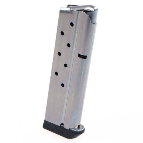 This is a 1911 magazine for a full-size 10mm pistol, stainless steel, 8 round capacity, made by Metalform. This magazine comes with a bumper pad for the bottom.