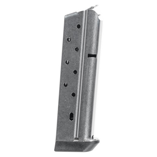 This is a 1911 magazine for a full-size 40s&w pistol, stainless steel, 8 round capacity, made by Metalform. This magazine comes with a bumper pad for the bottom.