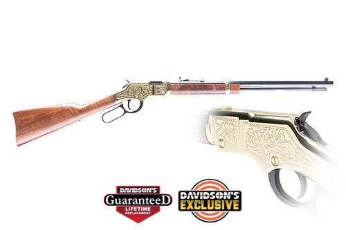 This is a special edition Henry Golden Boy in 22 lr made for the Cody Firearms Museum. The engraving on the firearm replicates an original Samuel Hoggson rifle kept in the Cody Firearms Museum.