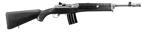 This is a Ruger Mini-14 Tactical chambered in 5.56 nato, with a stainless steel barrel. Manufactured by Ruger.