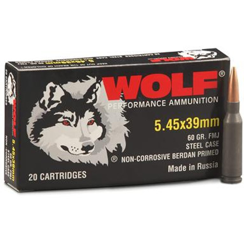 Wolf Performance 5.45x39mm 60 Grain FMJ (Full Metal Jacket), has 20 rounds per box.