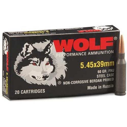 Wolf Performance 5.45x39mm 60 Grain FMJ (Full Metal Jacket), has 20 rounds per box.